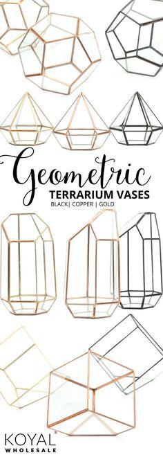 Koyal Wholesale Geometric Terrarium Set   3 Colors   Black, Copper, Gold