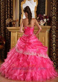 Hot Pink Strapless Organza Sweet 15 Dresses