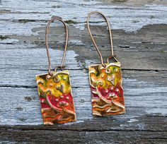 SOLD! Vintaj Earrings Brass Yellow Red Hand Painted by Eleven11Designs