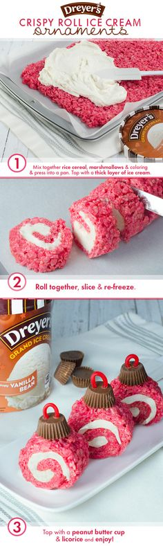 Dreyer's Rice Crispy Roll Ornaments: Start by spreading ice cream onto a layer of rice cereal treats, then roll and slice into circular pieces. Finish off each roll with a peanut butter cup and a licorice hook for a treat that will deck your kitchen in the most festive way!