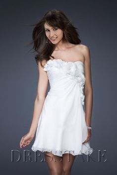 Vintage A-line Strapless Short / Mini Chiffon Flower(s) White Cocktail Dresses, US$77.99