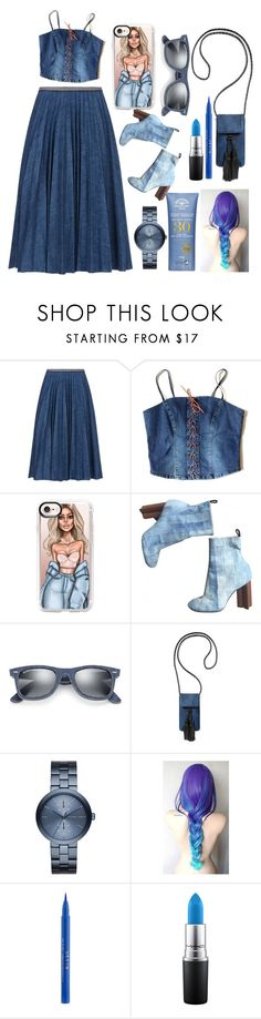 """""""dark blue"""" by nadialestari99 ❤ liked on Polyvore featuring Leur Logette, Casetify, Louis Vuitton, Ray-Ban, Rebecca Minkoff, Michael Kors, Stila and MAC Cosmetics"""