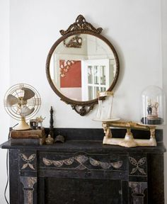 15 Ways to Style a Mantel – Design*Sponge Mirror Over Fireplace, Fireplace Mantle, Steampunk Bedroom, Steampunk Interior, Interior And Exterior, Interior Design, Interior Styling, Round Mirrors, Bedroom Styles