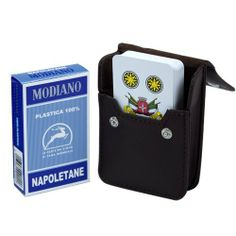 Italian Napoletane Cards w/ Leather Card Case by Modiano. $5.99. This deluxe set playing card set features one single deck of authentic Napoletane Italian playing cards and a leather card case.   Made from plastic-coated paper, Italian playing cards most commonly consist of 40 cards (four suits from 1-7 and three face cards). The three face cards in each deck are the King, Cavallo (Calvary man) and Fante (Infantry Man), except in the French region, which uses a Queen instead of...