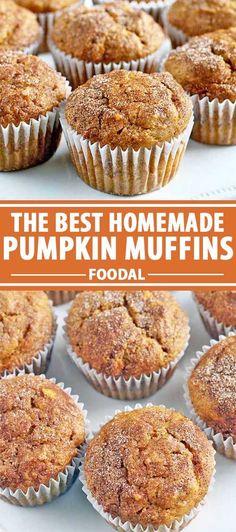 Best Pumpkin Muffins, Pumpkin Muffin Recipes, Baked Pumpkin, Homemade Desserts, Delicious Desserts, Yummy Food, Fun Food, Breakfast Recipes, Dessert Recipes