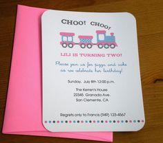 Choo Choo Train Birthday Invitations for girls via Etsy.