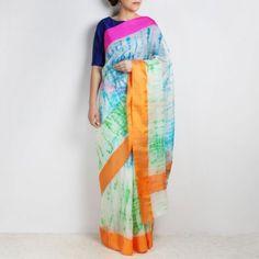 White& Blue Kota Silk Tie & Dye Saree with Silk Border