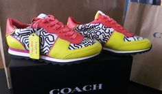 Coach women's sneakers Keith Haring size 5 US. EUR 35.5 all leather, bright yellow and orange with Keith Haring's design on the shoe. | eBay!