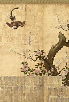 Detail. Blossoming Plum and Camellia in a Garden Landscape. Japanese folding Screen (six-panel). Artist: Koi. Edo period. Freer.