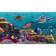 Bring the adventure of Disney-Pixar's Finding Nemo into any room with this huge wallpaper mural. This delightful design features all your favorite characters from the film, and is guaranteed to delight any Finding Nemo fan. Walt Disney Kids, Disney Pixar, Disney Babies, Disney Cars, Disney Wall Murals, Mural Wall, Finding Nemo Movie, Removable Wall Murals, Kids Wallpaper