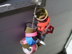 I learned this from my days in film production. Tie a carabiner to a rope, run your tape rolls through, and hang it on a wall. Now they're all easily accessible and won't roll around everywhere. Tool Shop Organization, Workbench Organization, Tape Storage, Step Van, Tool Bench, Garage Workshop, Sound Design, Tool Box, I Shop