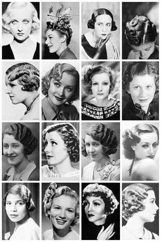 1930s Hairstyles | A collection of 1930's photographs, depicting some of the hairstyles of the time, like the perm, softwave bob and the coxcomb curls, and one lady even sporting a boat ornament on her head.