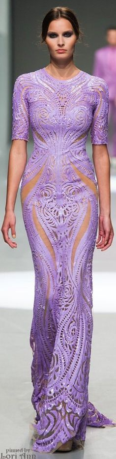 Michael Cinco Spring 2015 RTW....this dress would look a little more fierce if the top was cut into a halter style.