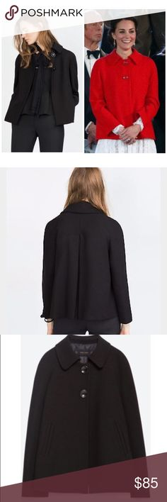 ZARA BACK PLEATED CAPE IN BLACK. SMALL. PERFECT!! ZARA COAT CAPE WITH PLEATED BACK.   COLOR: BLACK            SIZE: SMALL  Material: outer shell 65% polyester, 33% viscose, 2% elastase; Lining 100% acetate.   JACKET/BLAZER THAT'S ALSO A CLASSY COMBINATION OF CAPE AND SWING COAT!  FEATURES A BACK PLEAT FOR EXTRA VOLUME AND A PETER PAN COLLAR.  FASTENS WITH TWO BUTTONS NEAR THE NECK.  NEW AND NEVER WORN; PURCHASED DIRECTLY FROM A ZARA STORE.  100% AUTHENTIC.    SOLD OUT EVERYWHERE AND VERY…