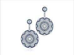 Diamond and Sapphire Vintage Inspired Earrings