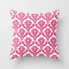 DAMASK PINK RED Throw Pillow by MY PRETTY HOME | Society6 $20.00  #damask #red #pink #vintage #pattern #girlsroom #teenbedding #fresh #new #summer #pillow #sofa #apartment