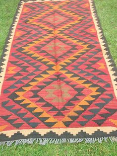 Traditional 6 ft x 3 ft  Maimana Hand woven Rug/Kilim Runner from Afghanistan.. $95.00, via Etsy.
