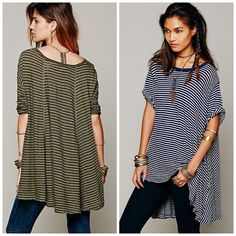 """Circle in the sand tee runs LRG Free people """"we the free"""" tee this is very oversized a large could fit in it (I'm a woman's 2x and it went on!) asymmetrical hem with lots of fabric for a super flowy look- high lo, new without tags * 2nd photo is is actual shirt colors are army green and black stripes **cover photo is to show fit Free People Tops"""