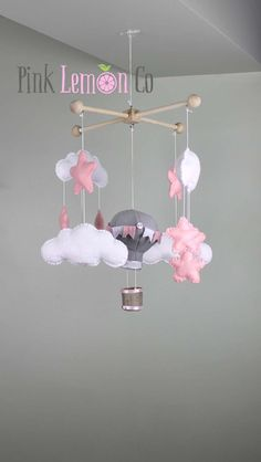 baby mobile, baby mobiles, nursery decor, nursery mobiles,nursery mobile,felt baby mobile MOBILES: All of my mobiles are handmade using merino blend wool felt. Plush pieces are all hand sewn, the only exception are my hot air balloons and large log. These are sewn with sewing machine to