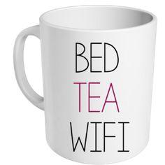 "mug ""bed tea wifi"" - MUG ME"