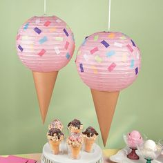 Create your own party decorations for your ice cream-themed celebration with this fun Ice Cream Party Lantern Décor Idea. A great DIY craft to complete . Sundae Party, Donut Party, Ice Cream Theme, Ice Cream Party Decor, Ice Cream Decorations, Craft Decorations, Summer Party Decorations, Ice Cream Crafts, Ice Cream Social