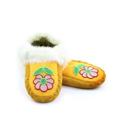 Size 9 - Women's Moose Hide and White Rabbit Fur Moccasins - with Pearl Pink, Red, Green Floral Beaded Floral Design - Kitigan #native #art #moccasins #rockyourmocs #mocmonday