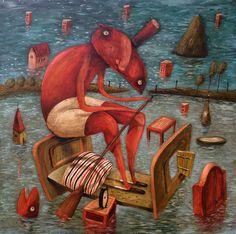 Pierre Menard — Fero Lipták — Flood (acrylic on canvas, Martial, Halle Saint Pierre, Carlos Estevez, Yuko Shimizu, Blog Art, India Ink, Acrylic Resin, Illustrations, Watercolor Pencils