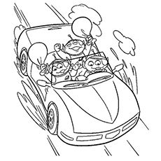 The Toy Aliens In The Car Coloring Pages