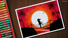 Couple on Bridge scenery drawing with Oil Pastels - step by step - YoTube Romantic Paintings, Oil Pastel Paintings, Oil Pastel Art, Oil Pastel Drawings, Oil Pastels, Horse Paintings, Pencil Drawings, Eiffel Tower Painting, Valentines Day Drawing