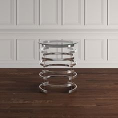 Nova Modern Glam Round Glass Top Metal Foyer Table by Inspire Q (Chrome Finish Foyer Table), Clear