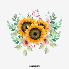 Sunflower Clipart, Sunflower Png, Sunflower Drawing, Watercolor Sunflower, Sunflower Design, Watercolor Flowers, Watercolor Paintings, Sunflower Paintings, Sunflower Pattern