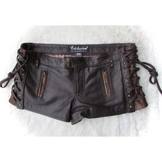 Leather Steampunk Shorts Brown Purple Leather Laceup Shorts Biker... ($194) ❤ liked on Polyvore featuring shorts, grey, women's clothing, grey shorts, print shorts, zipper pocket shorts, purple shorts and patterned shorts