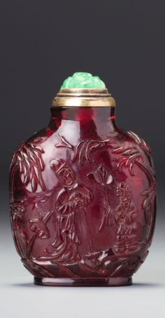 Glass Inside Sketch Character Armored Snuff Bottle