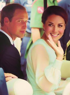 Prince William & Princess Kate..Love the sincerity in their eyes...all the time! And the faces he always makes behind her.