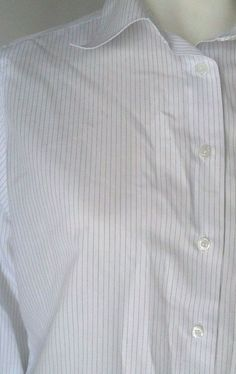 Brooks Brothers Non Iron Classic Fit White Striped Button Dress Shirt Women's 14…