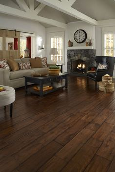 Something like this would look great in our Living Room to replace the carpet! Like distressed flooring, wide plank floors fuse historical design with fresh style that continues to be a popular choice for homeowners. Floor Design, House Design, Tile Design, Casas Country, Dark Wood Floors, Distressed Hardwood Floors, Dark Laminate Wood Flooring, Wood Like Tile Flooring, Modern Flooring