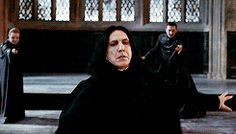 """""""Snape not only deflects McGonagall's attack but uses it to take down Alecto and Amycus in a single armwave behind his visual field. Like they both had their wands out too but BOY they did not see that coming. Snape knew that he needed to get rid of them before being driven out of the castle so that they wouldn't harm any of the students. Severus Snape everyone, the man who pretended for love."""""""