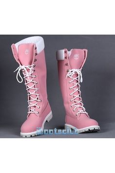 Womens Timberland 14 Inch Premium Suede Leather Knee High Rain Winter Boots Pink