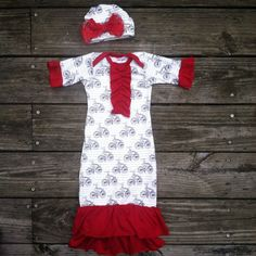 Red Bicycle infant gown, boutique gown, baby girl gown, vintage bike, layette, baby shower, take home outfit, handmade, custom gown on Etsy, $45.00