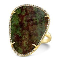 14KT Yellow Gold Blood Stone Diamond Organic Shape Diamond Ring (€2.220) ❤ liked on Polyvore featuring jewelry, rings, stone jewellery, gold ring, diamond jewellery, diamond jewelry and diamond rings