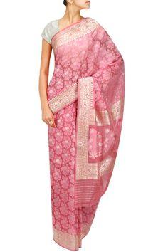 Pink traditional buta nakshi kora sari by TAJ KHAZANA. Shop now at: http://www.perniaspopupshop.com/designers-1/taj-khazana #shopnow #perniaspopupshop #taj #khazana #love #beautiful #fashion #sarees #collaboration #magazine #coverstory #amazing #falaknumapalace #style