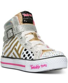 866e6013c01c Skechers Little Girls  Twinkle Toes  Shuffles Dazzling Diva High-Top  Light-Up Casual Sneakers from Finish Line Kids - Finish Line Athletic Shoes  - Macy s