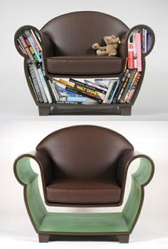 helloyoucreatives:    Book chair  Neat Idea - though I'm not sure I like how it looks   @Kayla Hollis