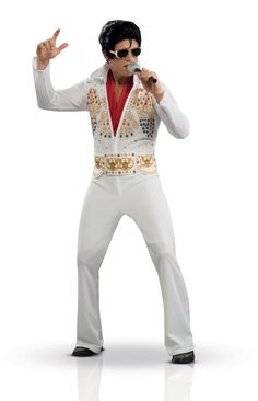 Deluxe Elvis Presley™ costume for adults: This deluxe Elvis Presley™ costume for adults consists of a jumpsuit, a scarf and a belt. (Wig, glasses, mic and shoes not included.)The jumpsuit, like the belt, is white and decorated with...