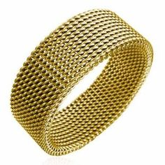 Men's Gold Stainless Steel Mesh Ring 8mm men's jewellery #mensfashion #mensjewellery