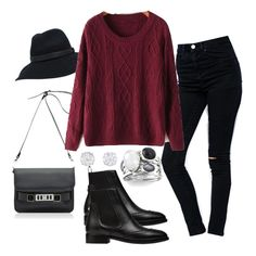 Wine Red Round Neck Long Sleeve Chunky Sweater