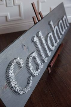 Custom Nail and String Art Bridal Shower Gifts, Baby Shower Gifts, Hilograma Ideas, Home Crafts, Diy And Crafts, String Art, Nail String, Childrens Room Decor, Signage Design