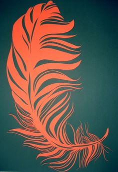We can't resist the simple but beautiful design of a feather! Paper cut by Ella Johnston