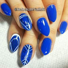 rebekahnailsitLove this client's nails and fingers - very photogenic. And the babydoll stilettos look so flattering on her!  This royal blue is Mali-blu Me Away by @gelish_official and it's gorgeous!  The line art was painted spontaneously in geometric patterns. I'm pretty happy with how they turned out.