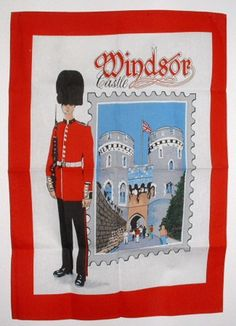 Tea Towel Windsor Castle Guardsman England Souvenir 1970s Dish Towel